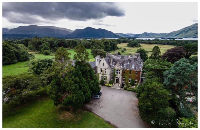 Aerial view of Cahernane House Hotel.