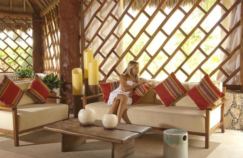 Relaxing at Shangri-La Caribe.