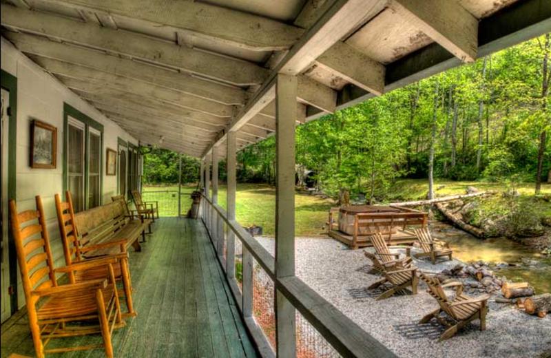 Cabin porch at Hidden Creek Cabins.