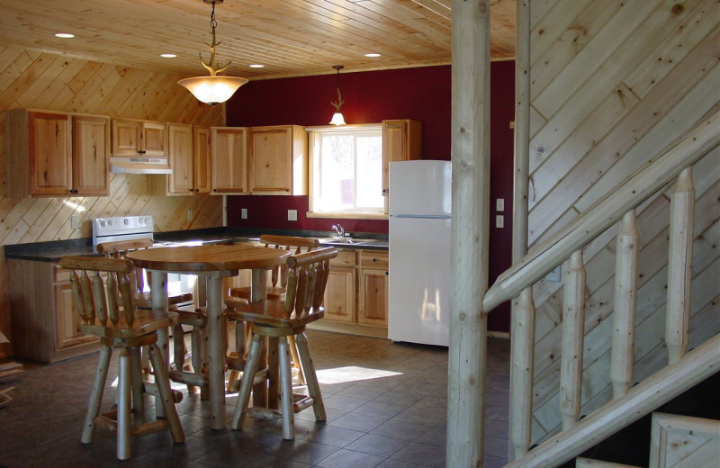 Cabin kitchen at Auger's Pine View Resort.