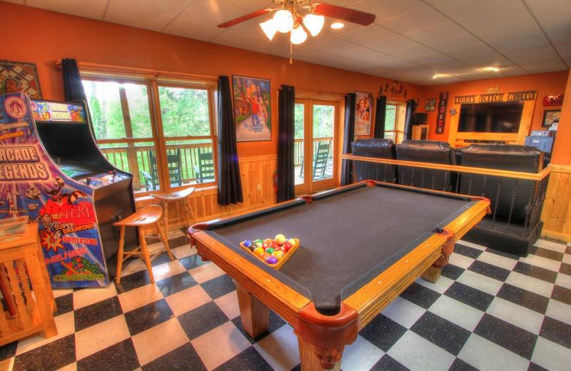 Cabin recreation room at Oak Haven Resort.