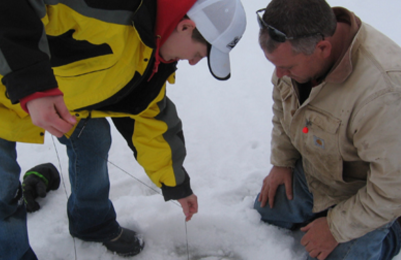 Ice fishing at River Bend's Resort & Walleye Inn.