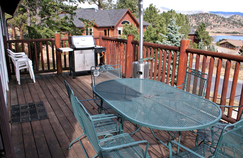 Vacation rental deck at Marys Lake Vacation Condos.
