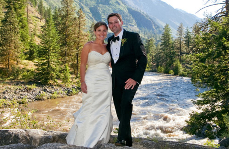 Icicle Creek provides a beautiful backdrop for wedding photography at Sleeping Lady.