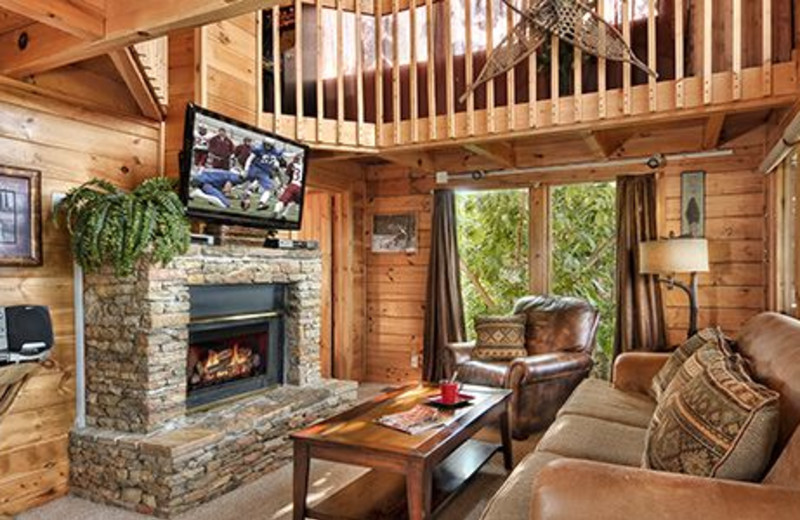 Cabin living room at Dollywood Cabins.