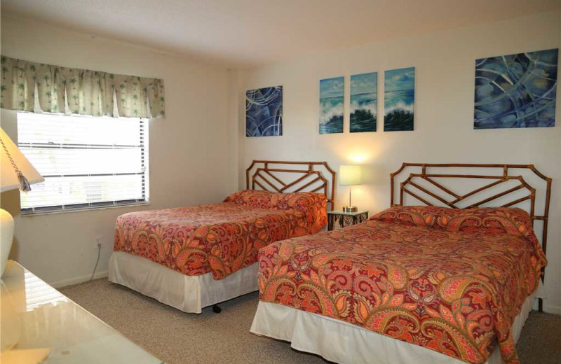 Rental bedroom at Surf Song Resort Condominiums.