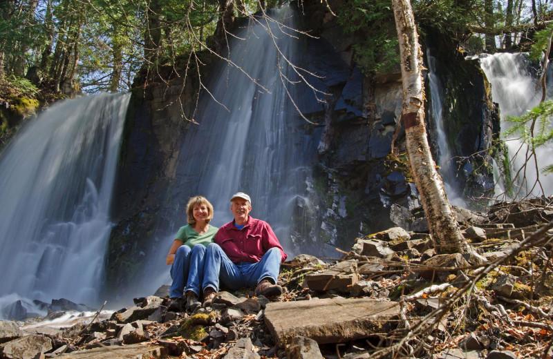 Waterfall at Loon Lake Lodge.