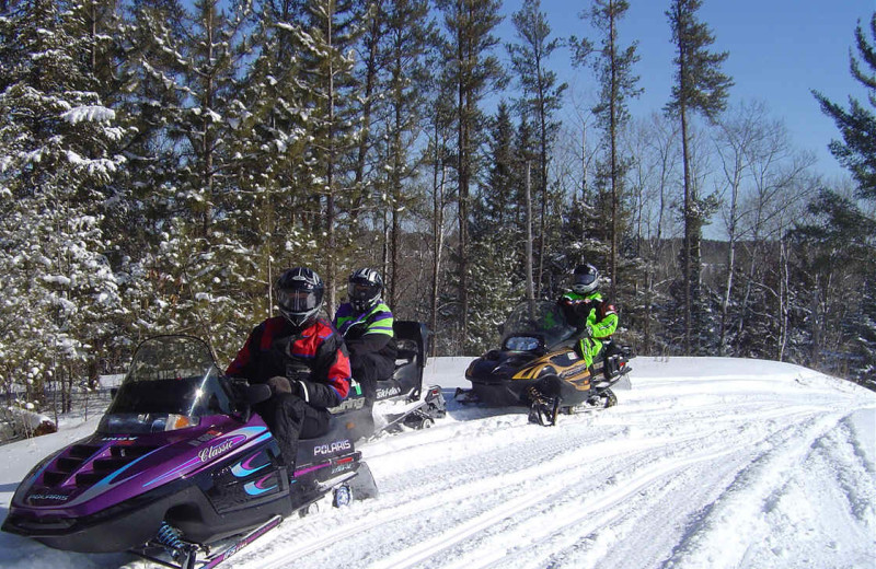 Snowmobiling at Lakecrest Resort.