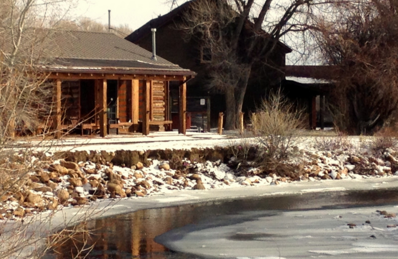 Cabin exterior at Vee Bar Guest Ranch.