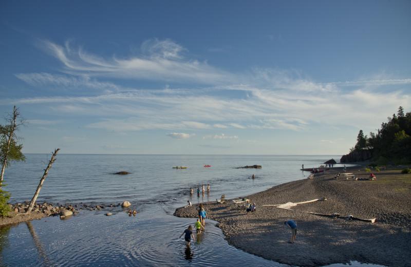 Beach at Lutsen Resort on Lake Superior.