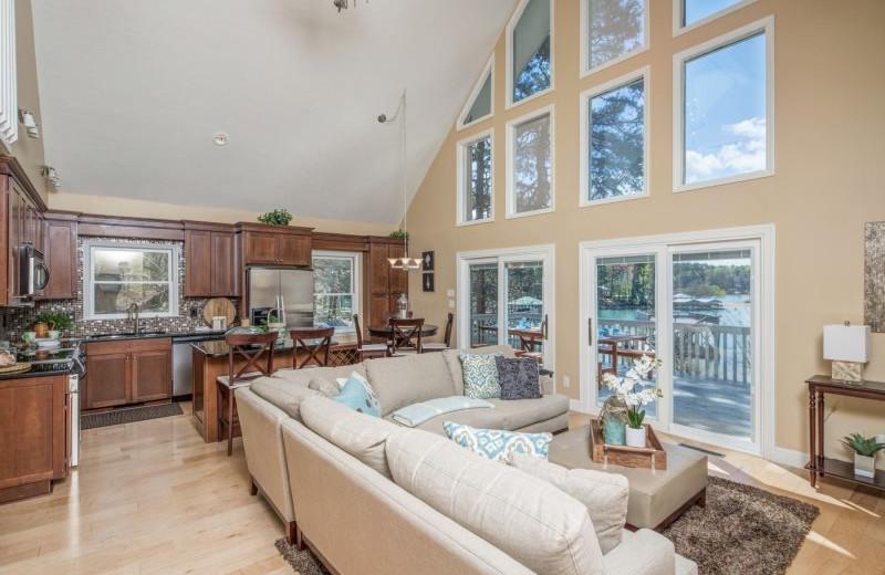 Rental kitchen living room at StayLakeNorman Luxury Vacation Rentals.