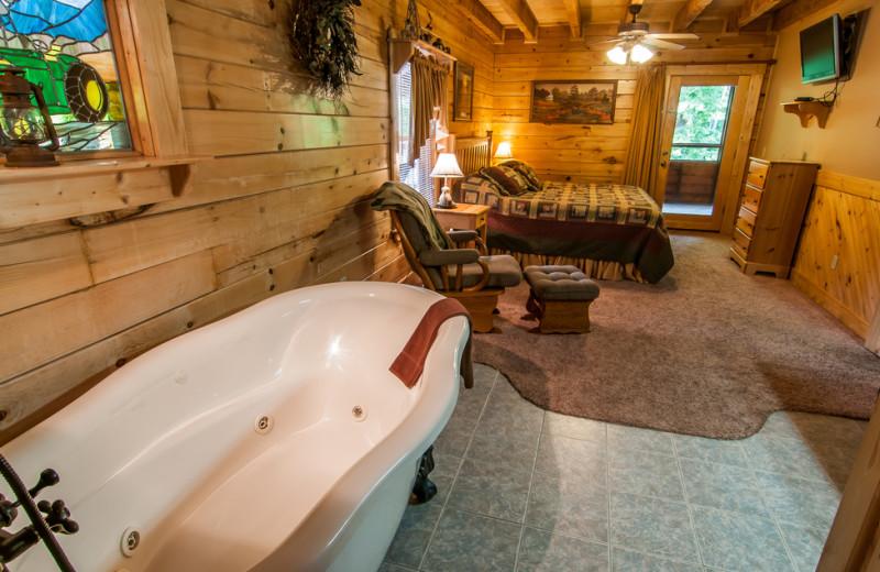 Cabin bedroom at Oak Haven Resort.