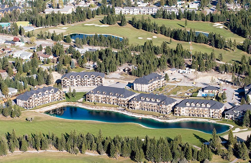 Aerial view of Bighorn Meadows Resort.