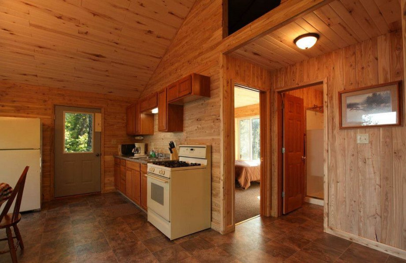 Cabin interior at Glenwood Lodge.