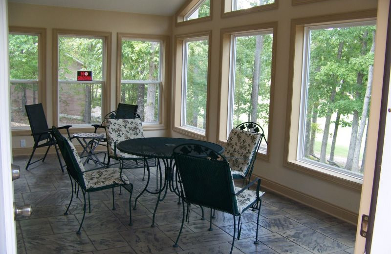 Rental porch at Village Villas Vacation Rentals.