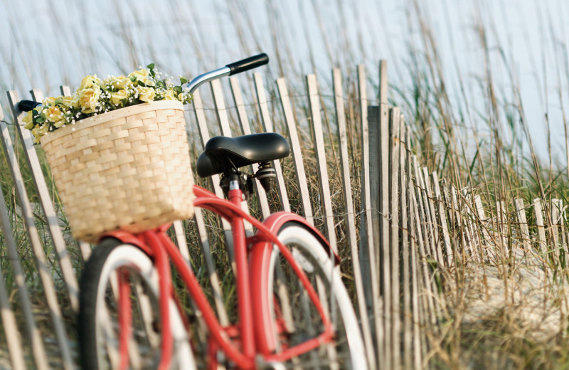 Biking on the beach at Dune Real Estate Company.