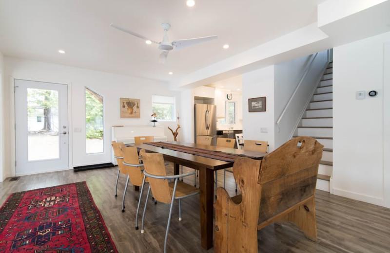 Cottage dining room at Bobs Lake Cottages.