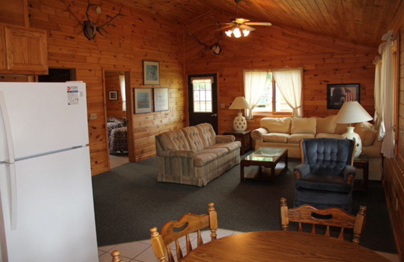 Cabin interior at Tiger Musky Resort.