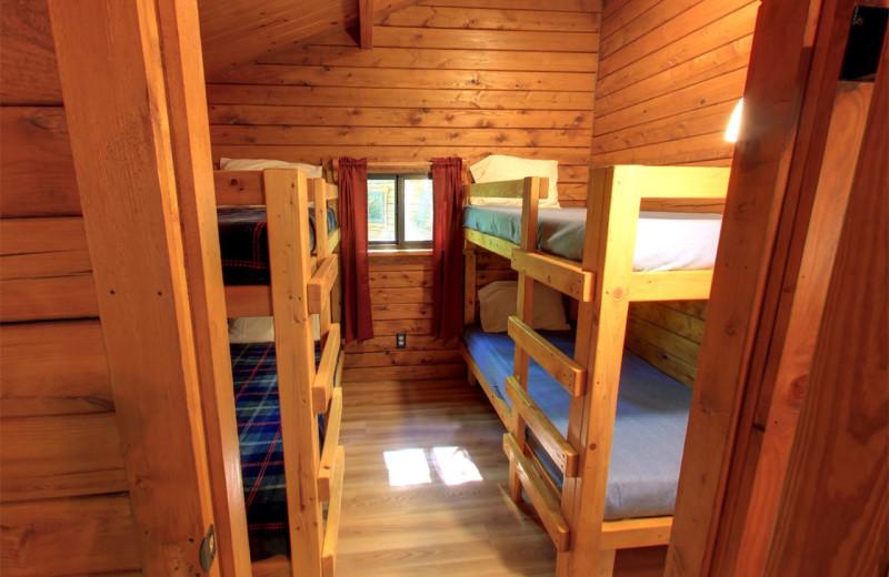 Cabin bedroom at Yogi Bear's Jellystone Park Hagerstown.