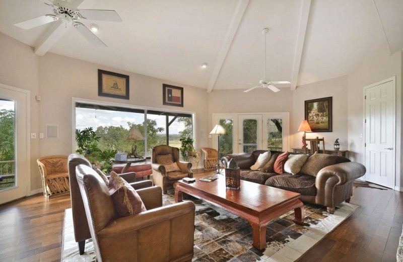 Living room at Serene Hill Country Home.