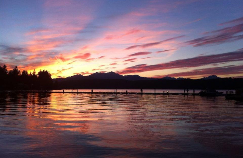 Sunset at Hood Canal Cottages.