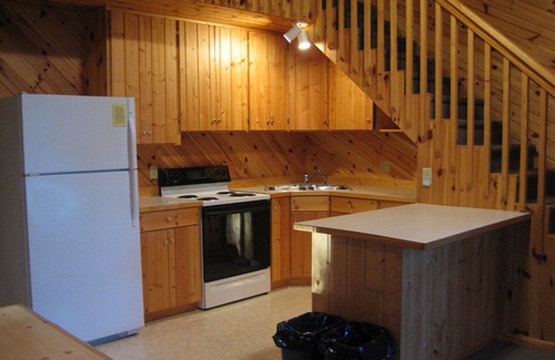 Cabin kitchen at Lakecrest Resort.