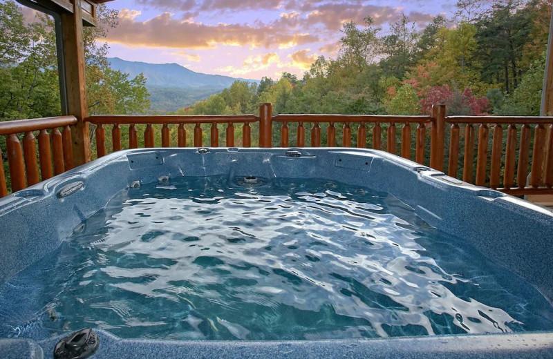 Rental hot tub at Aunt Bug's Cabin Rentals, LLC.