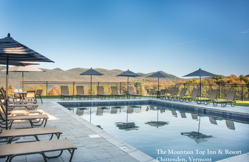 The heated Pool and view from the Pool at The Mountain Top Inn & Resort.
