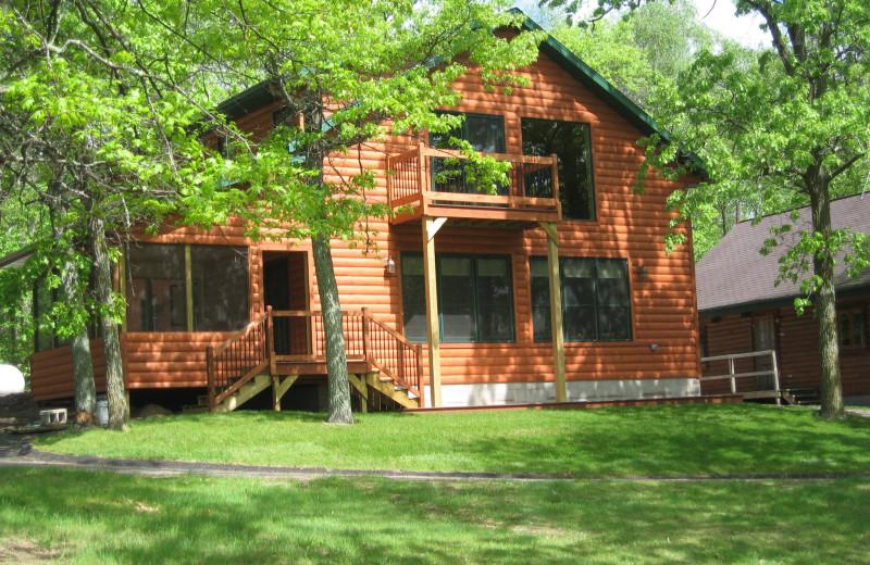 Cabin exterior at Finn'n Feather Resort.