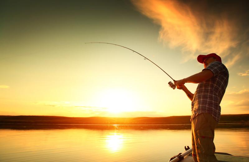 Fishing at Azalea Falls Lodge.