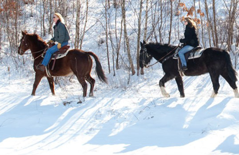 Winter horseback riding at Fernwood Resort.