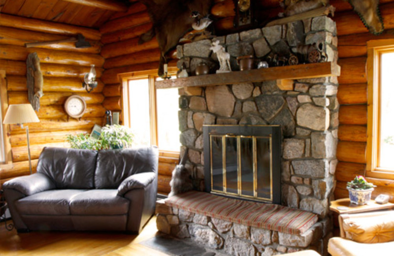 Cabin fireplace at Nor'Wester Lodge.