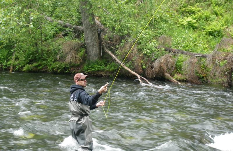 Fly fishing at Trail Lake Lodge.