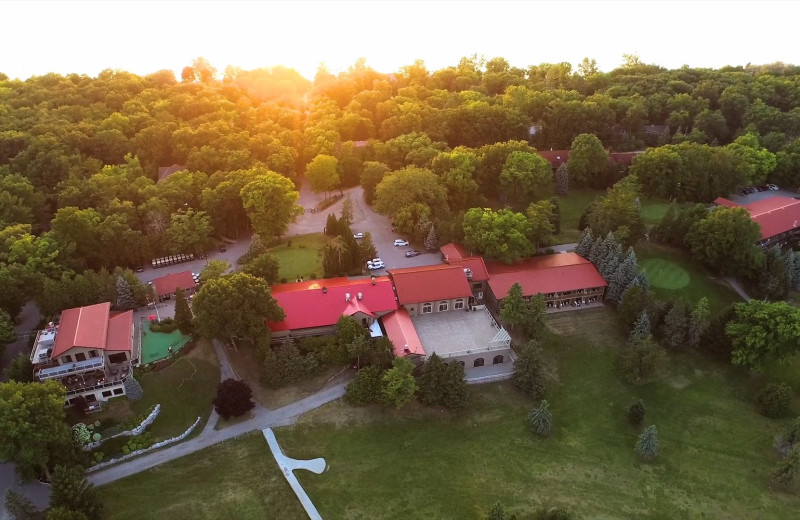 Aerial view of Oakwood Resort.