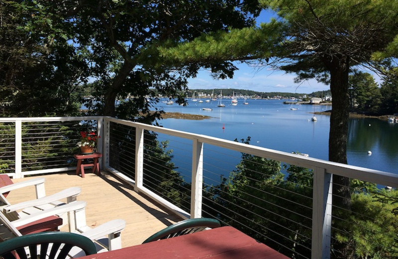 Balcony view at Harborfields Waterfront Vacation Cottages.