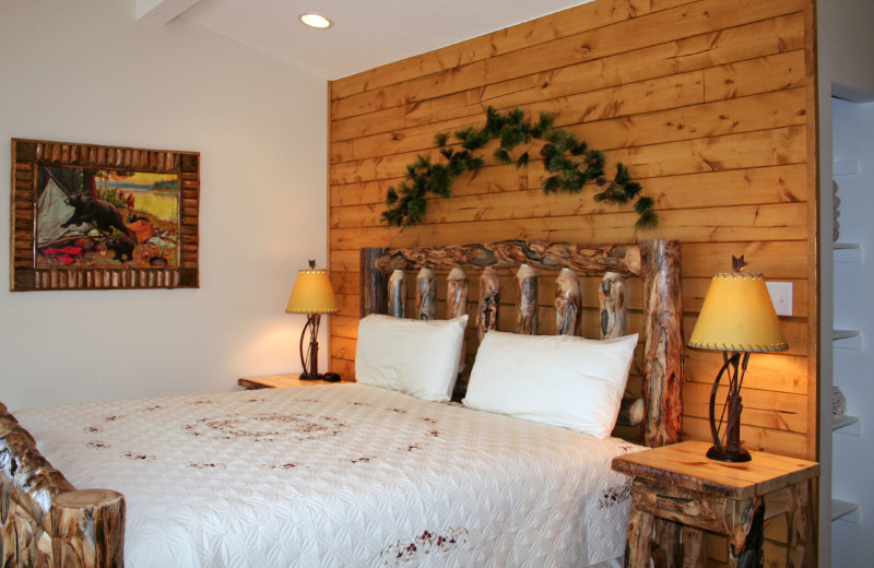 Chalet bedroom at Timber Creek Chalets.
