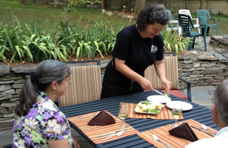 Patio dining at Black Sheep Inn and Spa.