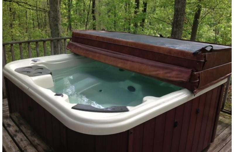 Cabin hot tub at Red River Gorge Cabin Company.