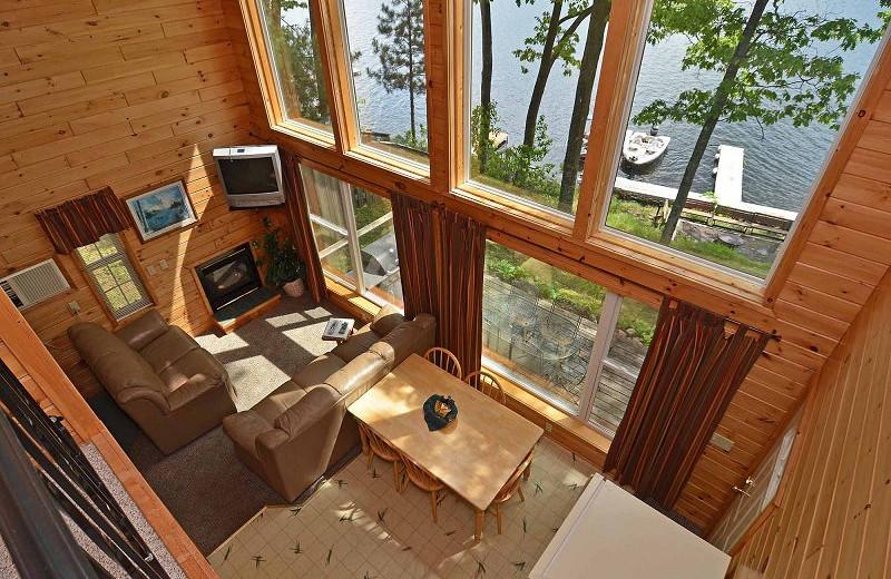 Cabin interior at Oak Shores Resort.