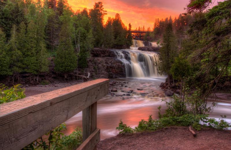 Waterfall at Lutsen Resort on Lake Superior.