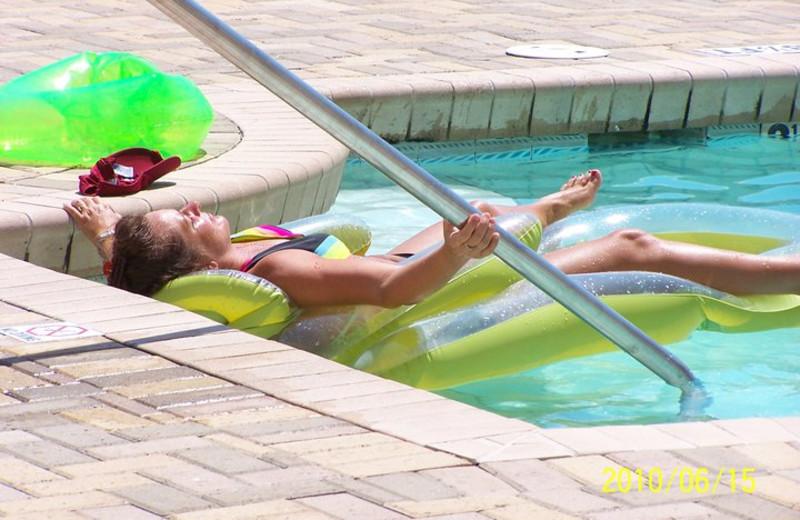 Relaxing in the pool at Sugar Sands Inn & Suites.