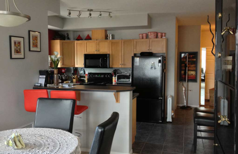 Rental kitchen at realTopia Vacation Rentals.