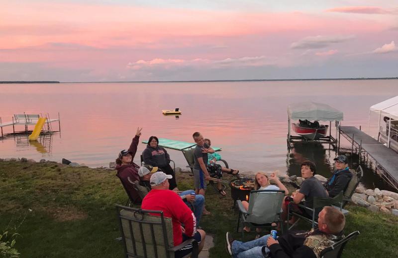 Family on lake at Barky's Resort.
