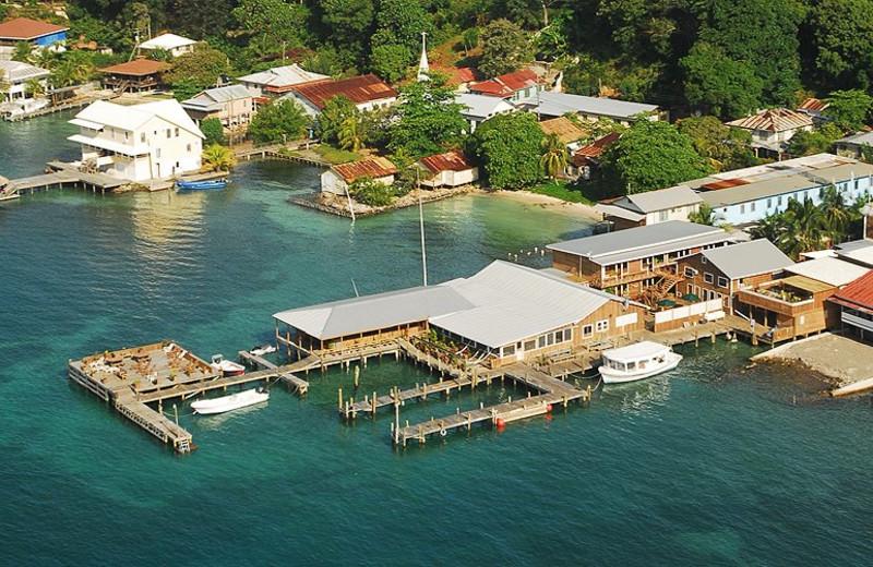 Aerial view of Utila Lodge.