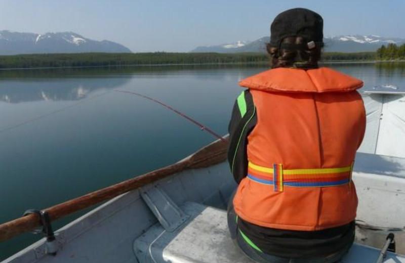 Fishing at Chaunigan Lake Lodge.