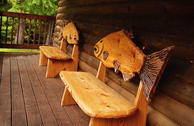 Fish benches at Salmon Falls Resort.