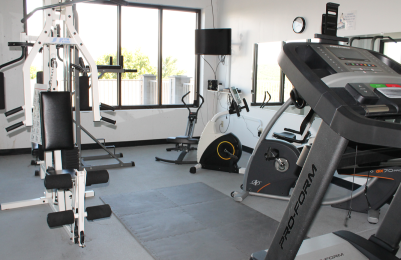 Fitness room at Treehouse on the Lake.