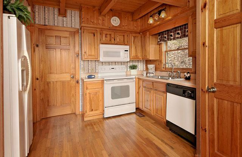 rental kitchen at Country Pines Log Homes.