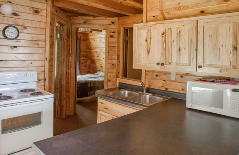 Cabin kitchen at Half Moon Trail Resort.
