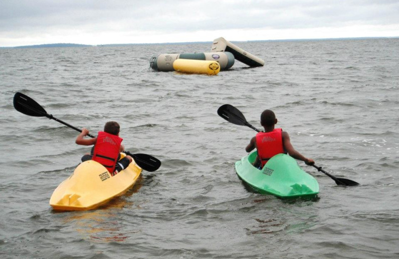 Kayak race at Anderson's Northland Lodge.